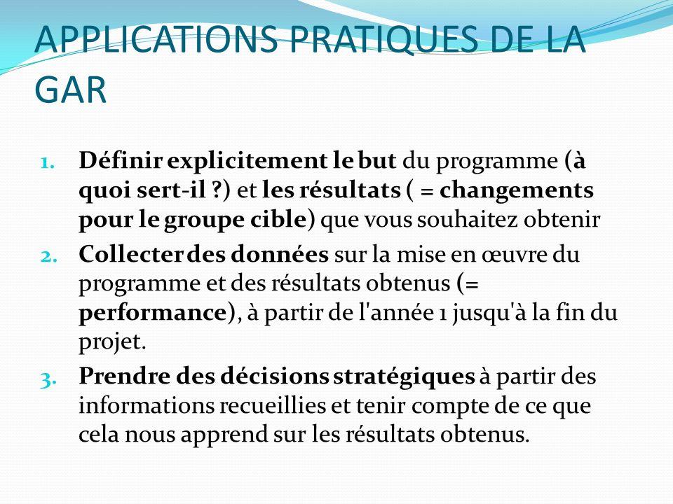 APPLICATIONS PRATIQUES DE LA GAR 1. Définir explicitement le but du programme (à quoi sert-il ?) et les résultats ( = changements pour le groupe cible