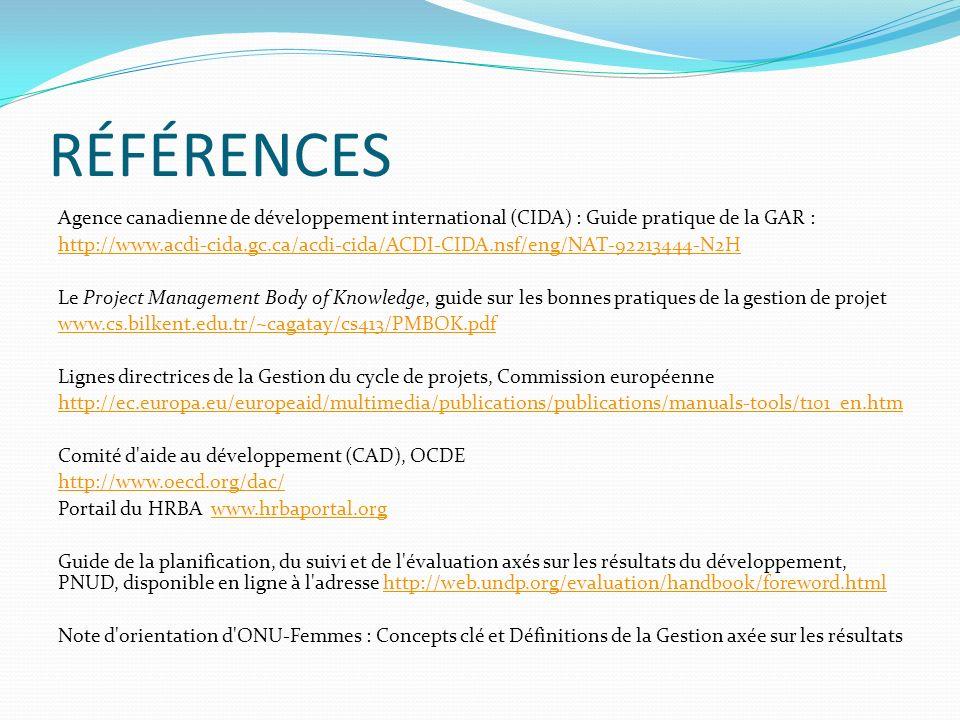 RÉFÉRENCES Agence canadienne de développement international (CIDA) : Guide pratique de la GAR : http://www.acdi-cida.gc.ca/acdi-cida/ACDI-CIDA.nsf/eng