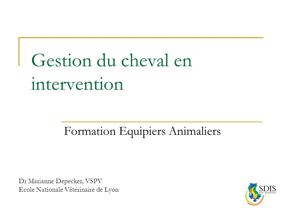 Gestion du cheval en intervention Formation Equipiers Animaliers Dr Marianne Depecker, VSPV Ecole Nationale Vétérinaire de Lyon