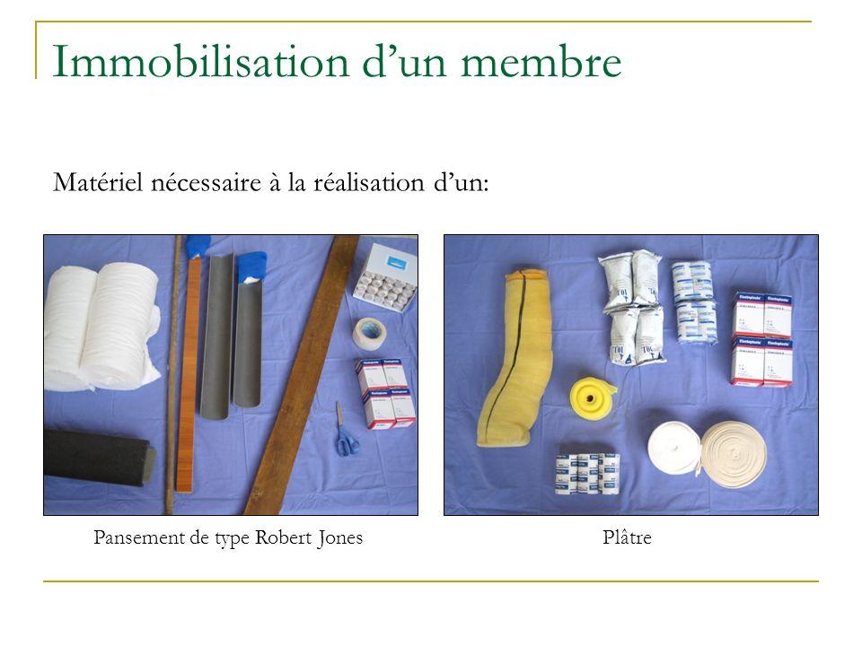 Immobilisation dun membre Pansement de type Robert JonesPlâtre Matériel nécessaire à la réalisation dun: