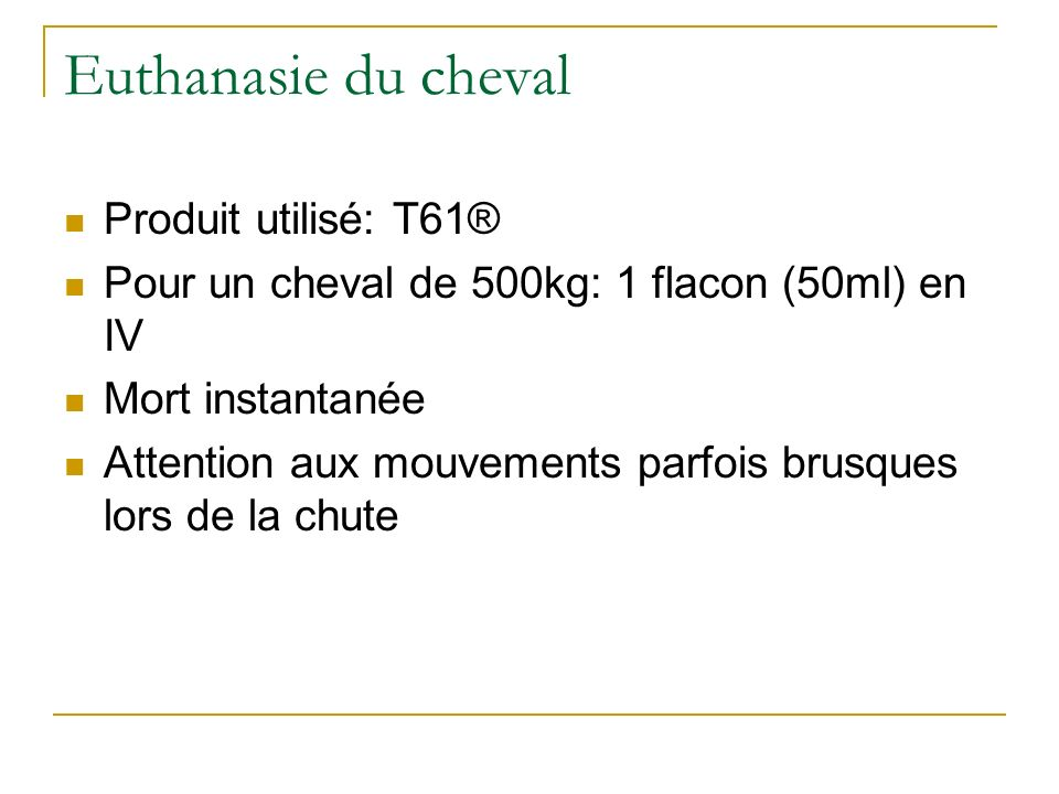 Euthanasie du cheval Produit utilisé: T61® Pour un cheval de 500kg: 1 flacon (50ml) en IV Mort instantanée Attention aux mouvements parfois brusques l