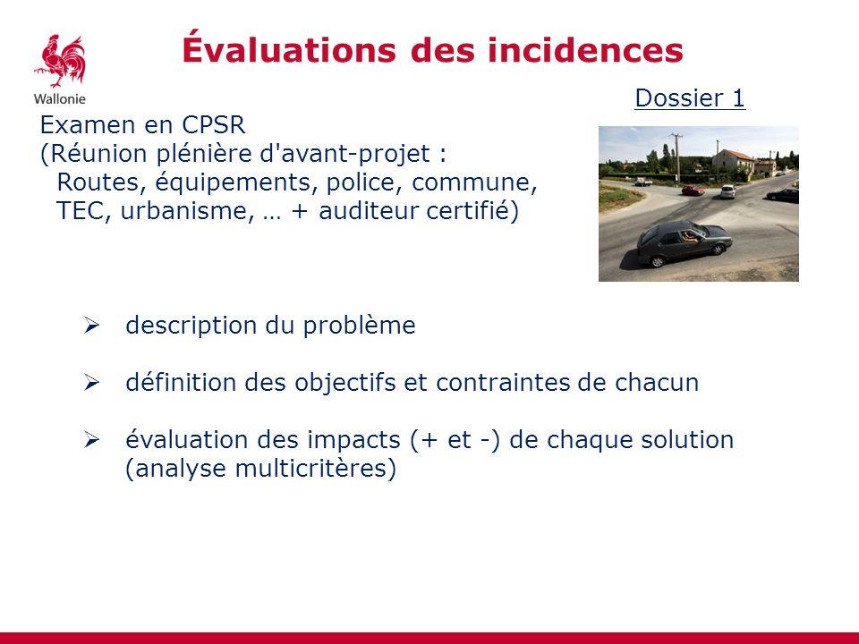 Évaluations des incidences Dossier 1