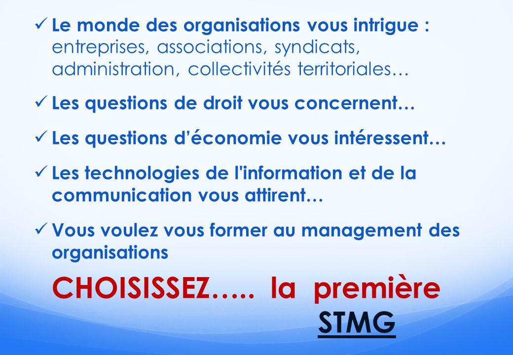 Choisir STMG, cest … Suivre des études secondaires technologiques Réussir ses études supérieures à Bac +2, +3 ou +5 Avoir de véritables perspectives demplois Série STMG