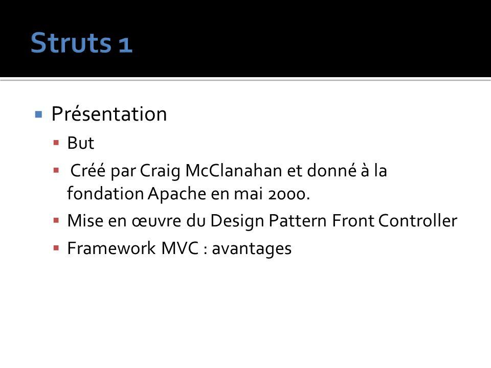 Présentation But Créé par Craig McClanahan et donné à la fondation Apache en mai 2000. Mise en œuvre du Design Pattern Front Controller Framework MVC