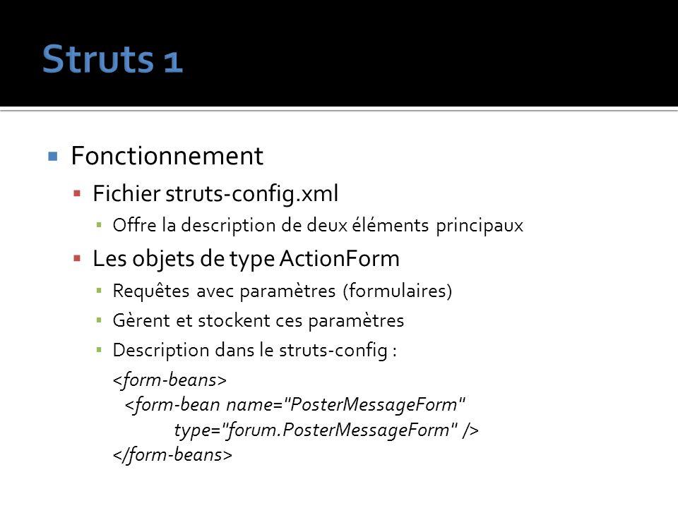 Fonctionnement Fichier struts-config.xml Offre la description de deux éléments principaux Les objets de type ActionForm Requêtes avec paramètres (form