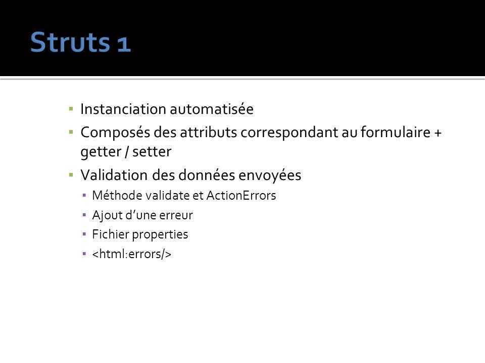 Instanciation automatisée Composés des attributs correspondant au formulaire + getter / setter Validation des données envoyées Méthode validate et Act