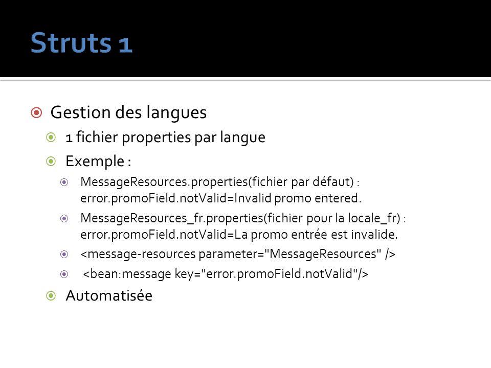 Gestion des langues 1 fichier properties par langue Exemple : MessageResources.properties(fichier par défaut) : error.promoField.notValid=Invalid prom