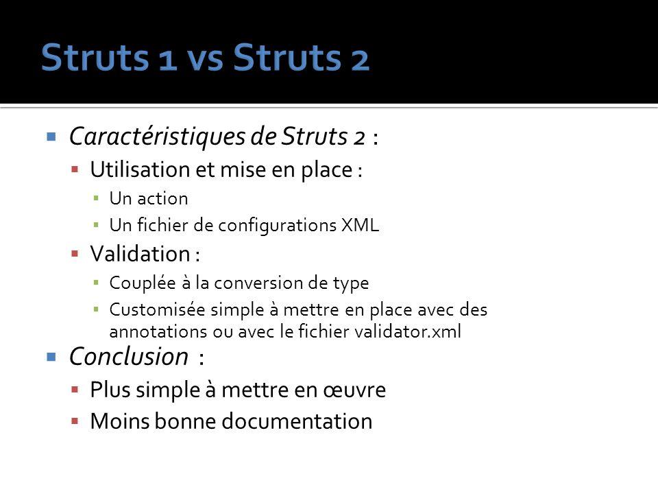 Caractéristiques de Struts 2 : Utilisation et mise en place : Un action Un fichier de configurations XML Validation : Couplée à la conversion de type