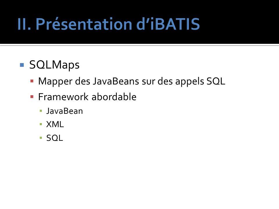 SQLMaps Mapper des JavaBeans sur des appels SQL Framework abordable JavaBean XML SQL
