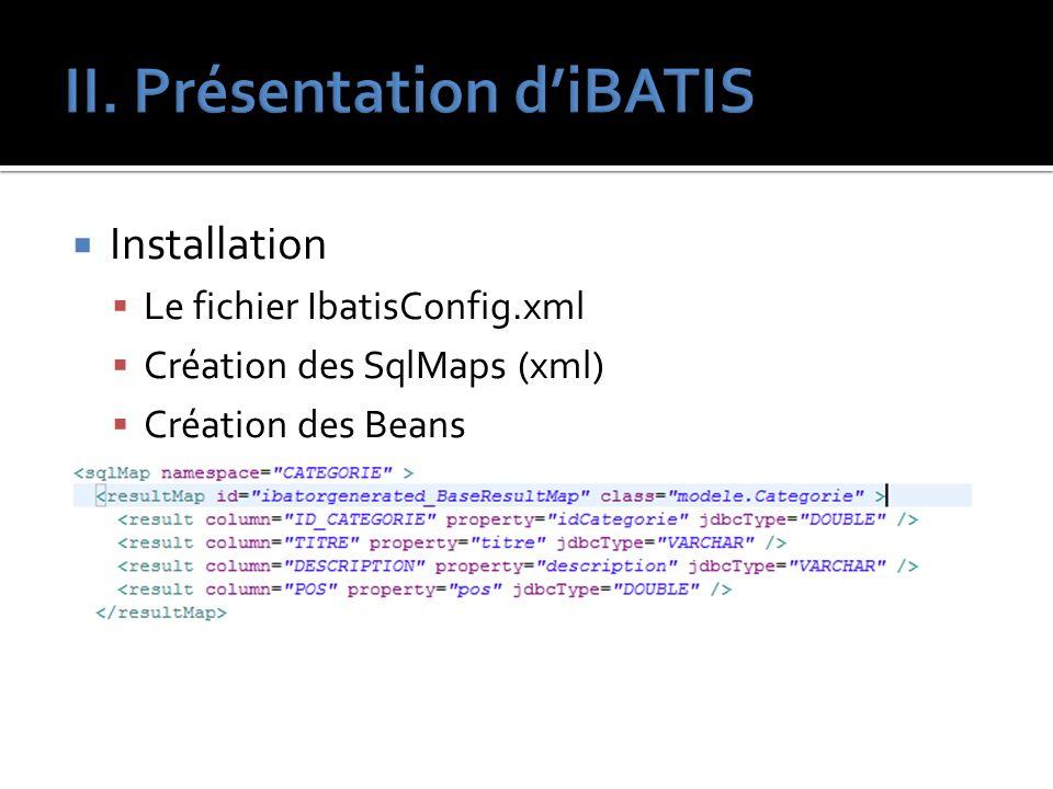 Installation Le fichier IbatisConfig.xml Création des SqlMaps (xml) Création des Beans