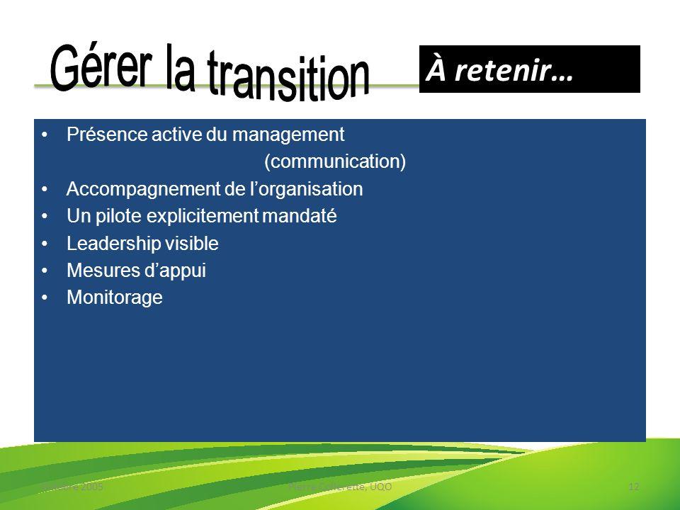 Octobre 2005Pierre Collerette, UQO12 Présence active du management (communication) Accompagnement de lorganisation Un pilote explicitement mandaté Lea
