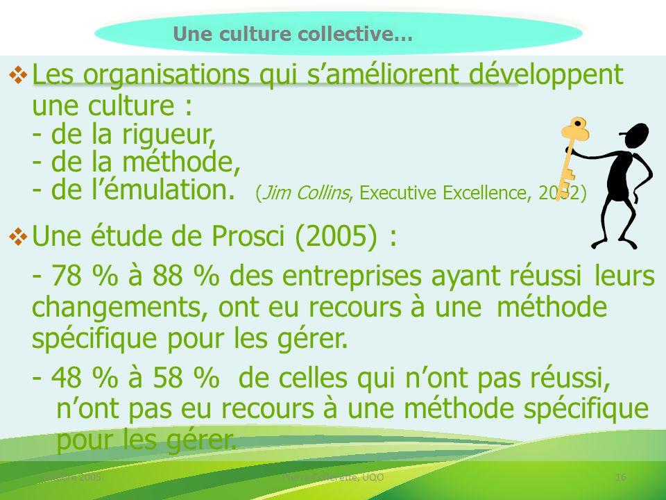 Octobre 2005Pierre Collerette, UQO16 Les organisations qui saméliorent développent une culture : - de la rigueur, - de la méthode, - de lémulation. (J