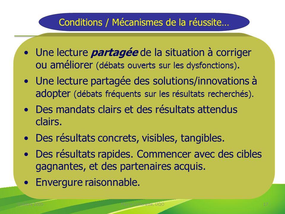 Octobre 2005Pierre Collerette, UQO17 Conditions / Mécanismes de la réussite… Une lecture partagée de la situation à corriger ou améliorer (débats ouve