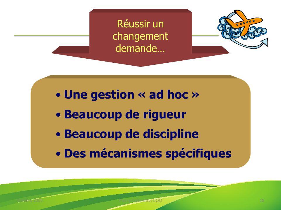 Octobre 2005Pierre Collerette, UQO18 Réussir un changement demande… Une gestion « ad hoc » Beaucoup de rigueur Beaucoup de discipline Des mécanismes s