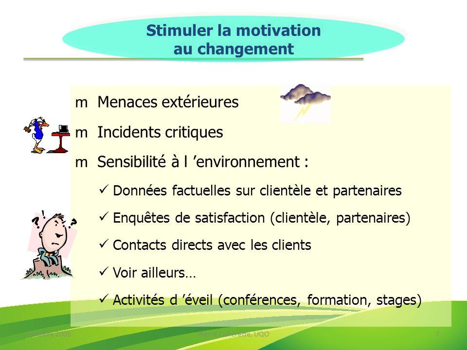 Octobre 2005Pierre Collerette, UQO18 Réussir un changement demande… Une gestion « ad hoc » Beaucoup de rigueur Beaucoup de discipline Des mécanismes spécifiques