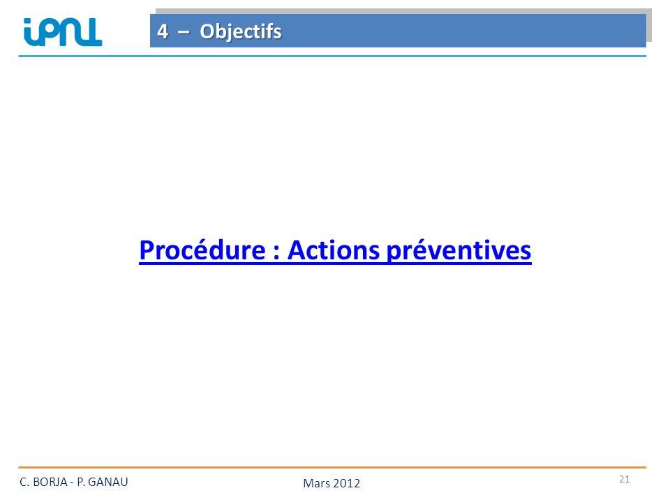 21 4 – Objectifs Mars 2012 C. BORJA - P. GANAU Procédure : Actions préventives
