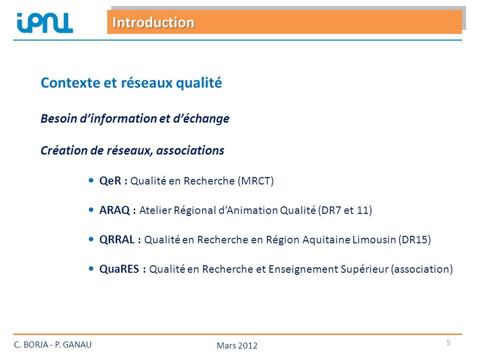 Mars 2012 6 Contexte et réseaux qualité C.BORJA - P.