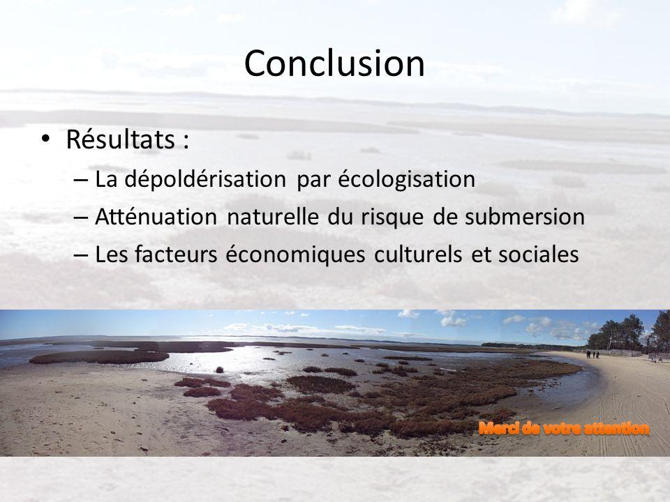 Conclusion Résultats : – La dépoldérisation par écologisation – Atténuation naturelle du risque de submersion – Les facteurs économiques culturels et