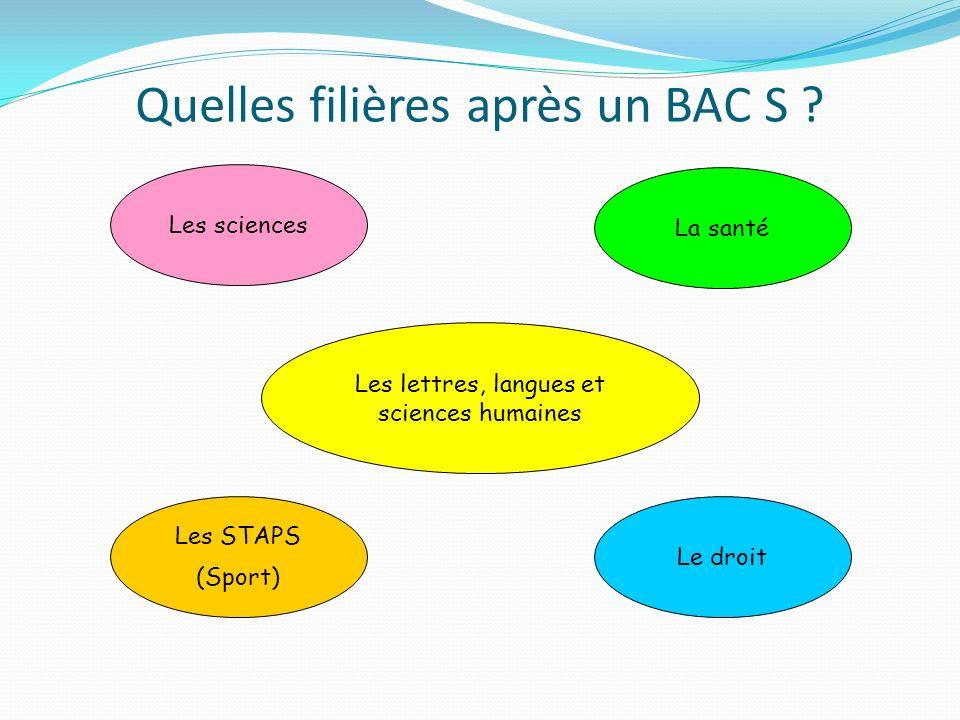 Quelles filières après un BAC S ? Les sciences La santé Le droit Les STAPS (Sport) Les lettres, langues et sciences humaines
