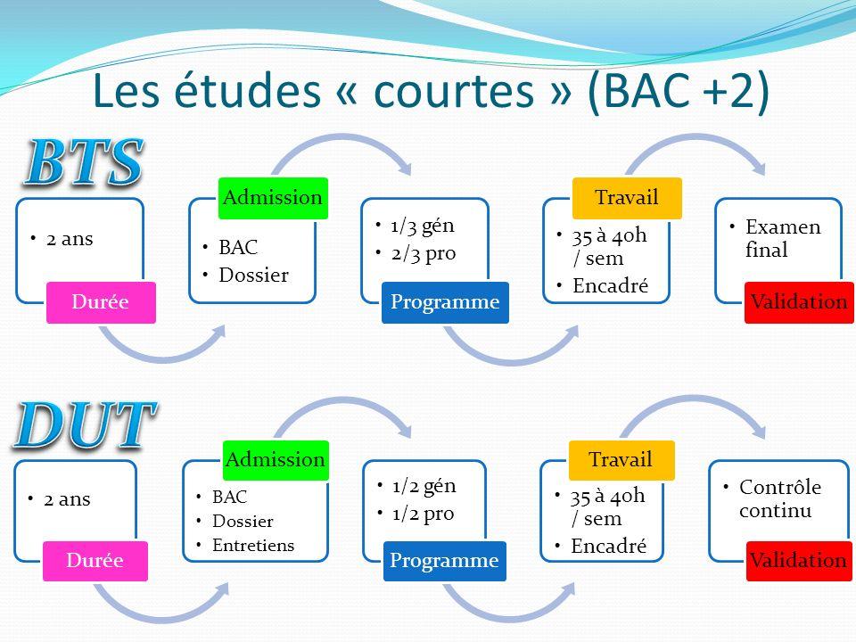 Les études « courtes » (BAC +2) 2 ans Durée BAC Dossier Admission 1/3 gén 2/3 pro Programme 35 à 40h / sem Encadré Travail Examen final Validation 2 a