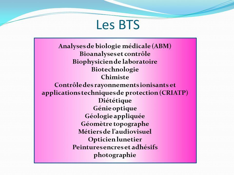 Les BTS Analyses de biologie médicale (ABM) Bioanalyses et contrôle Biophysicien de laboratoire Biotechnologie Chimiste Contrôle des rayonnements ioni