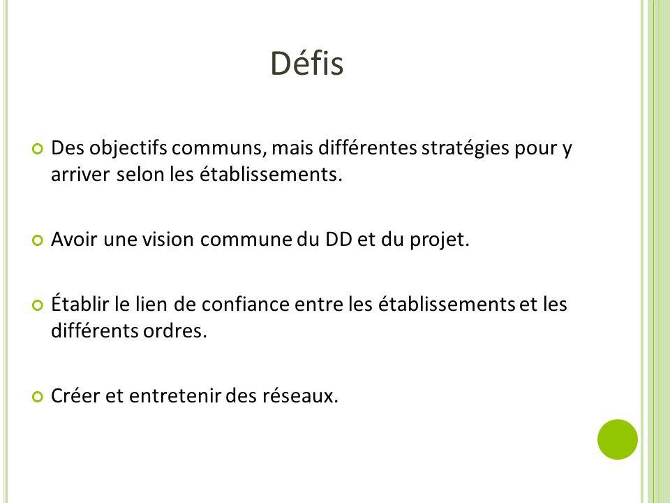 Défis Des objectifs communs, mais différentes stratégies pour y arriver selon les établissements. Avoir une vision commune du DD et du projet. Établir