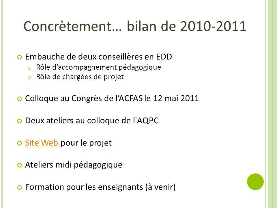 Concrètement… bilan de 2010-2011 Embauche de deux conseillères en EDD o Rôle daccompagnement pédagogique o Rôle de chargées de projet Colloque au Cong