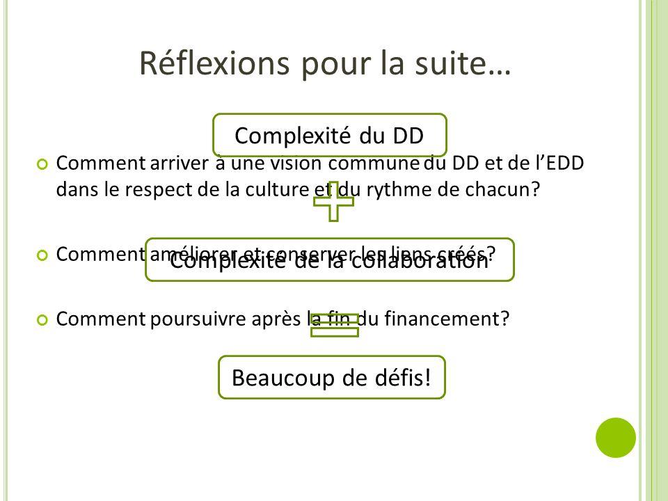 Réflexions pour la suite… Comment arriver à une vision commune du DD et de lEDD dans le respect de la culture et du rythme de chacun? Comment améliore