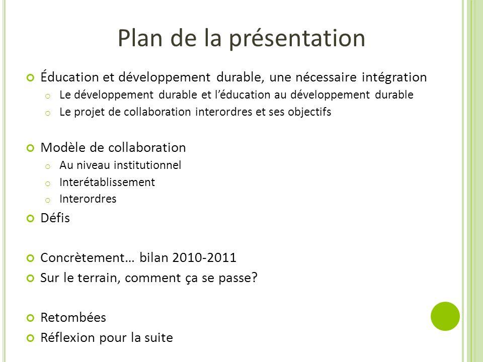 Plan de la présentation Éducation et développement durable, une nécessaire intégration o Le développement durable et léducation au développement durab