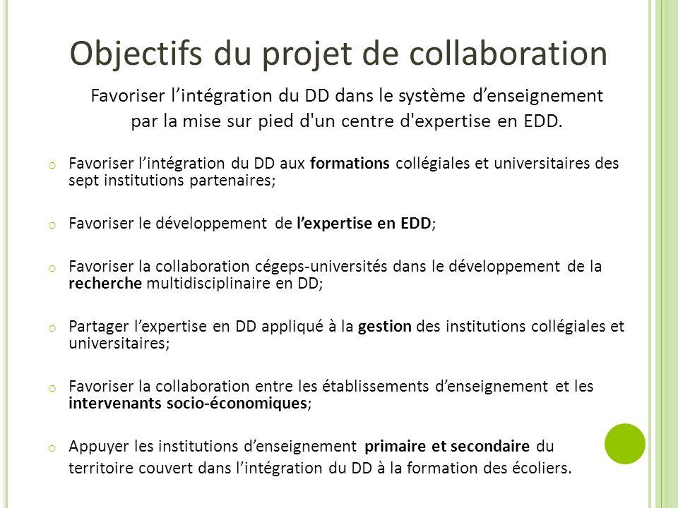 Objectifs du projet de collaboration Favoriser lintégration du DD dans le système denseignement par la mise sur pied d'un centre d'expertise en EDD. o