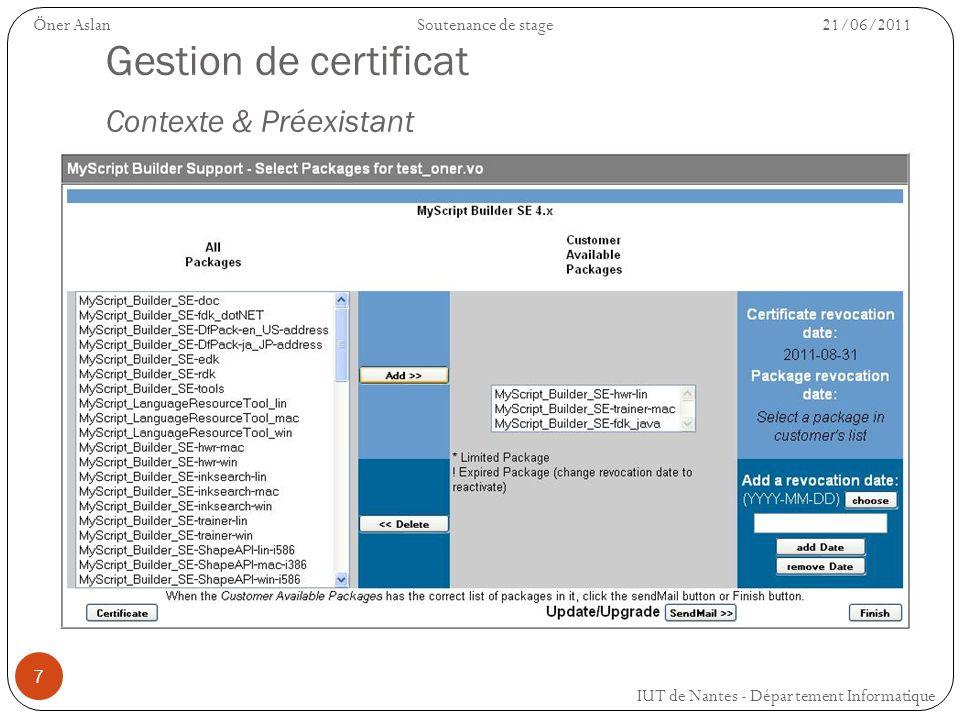 7 Gestion de certificat Contexte & Préexistant IUT de Nantes - Département Informatique Öner AslanSoutenance de stage 21/06/2011
