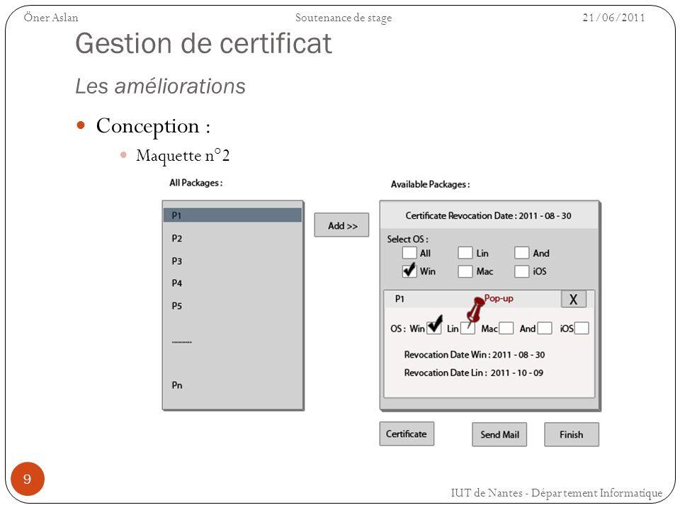 9 Gestion de certificat Les améliorations Conception : Maquette n°2 IUT de Nantes - Département Informatique Öner AslanSoutenance de stage 21/06/2011