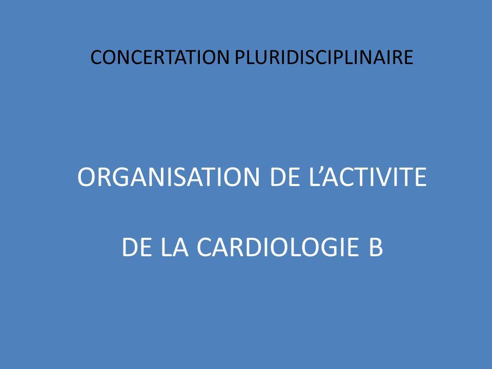 CONCERTATION PLURIDISCIPLINAIRE ORGANISATION DE LACTIVITE DE LA CARDIOLOGIE B