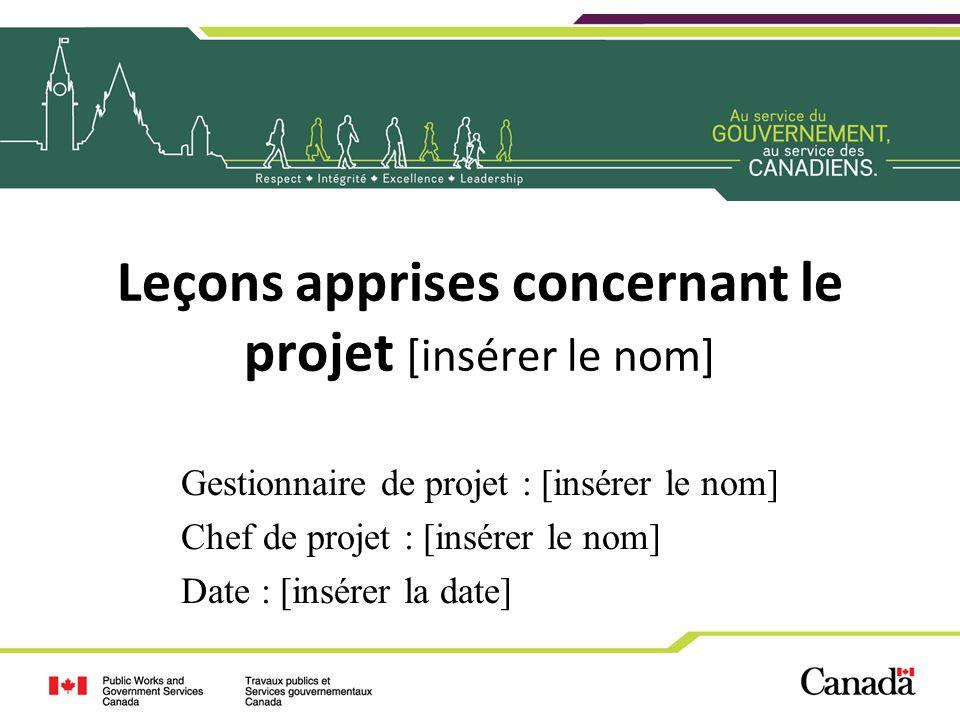 Leçons apprises concernant le projet [insérer le nom] Gestionnaire de projet : [insérer le nom] Chef de projet : [insérer le nom] Date : [insérer la d