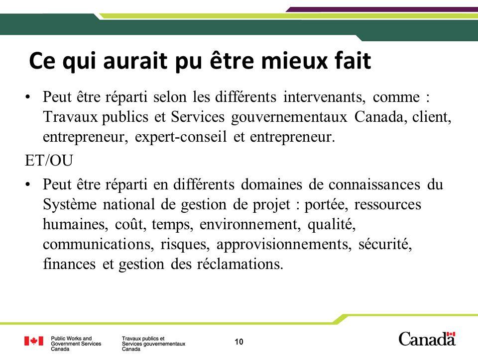 10 Ce qui aurait pu être mieux fait Peut être réparti selon les différents intervenants, comme : Travaux publics et Services gouvernementaux Canada, c