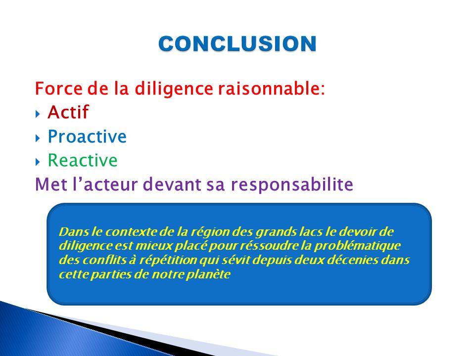 Force de la diligence raisonnable: Actif Proactive Reactive Met lacteur devant sa responsabilite Dans le contexte de la région des grands lacs le devo