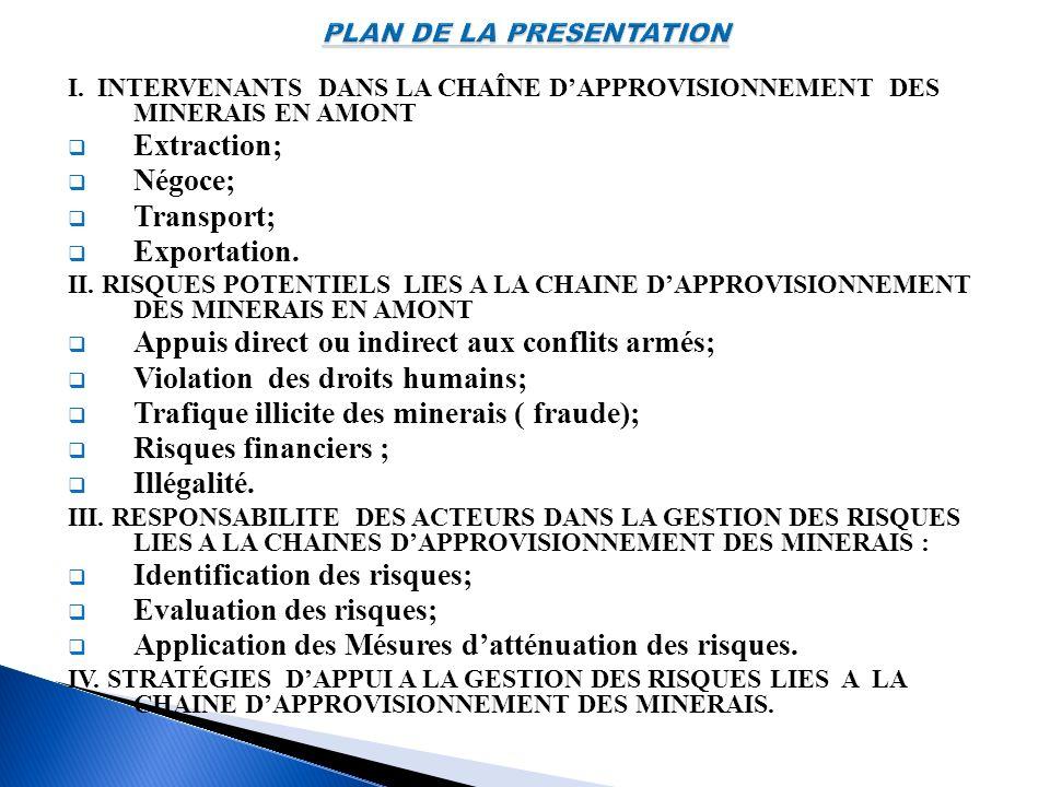 I. INTERVENANTS DANS LA CHAÎNE DAPPROVISIONNEMENT DES MINERAIS EN AMONT Extraction; Négoce; Transport; Exportation. II. RISQUES POTENTIELS LIES A LA C