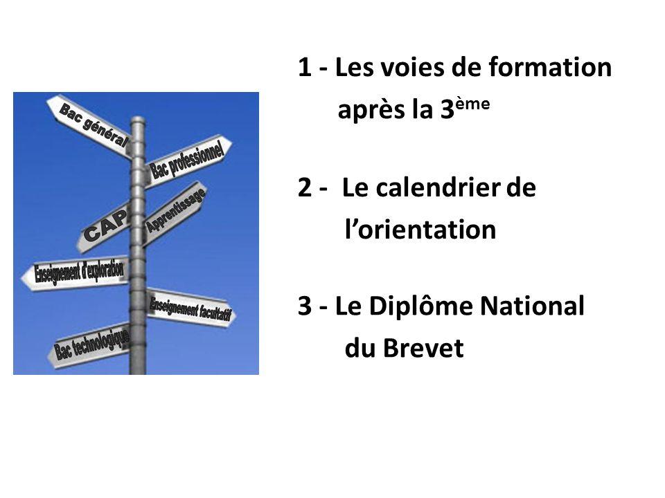 1 - Les voies de formation après la 3 ème 2 - Le calendrier de lorientation 3 - Le Diplôme National du Brevet