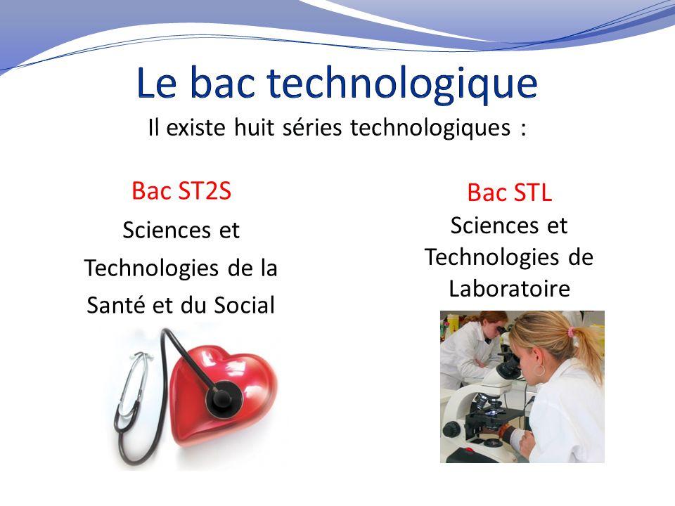 Bac ST2S Sciences et Technologies de la Santé et du Social Bac STL Sciences et Technologies de Laboratoire