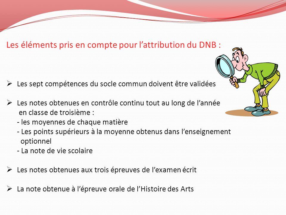 Les éléments pris en compte pour lattribution du DNB : Les sept compétences du socle commun doivent être validées Les notes obtenues en contrôle conti