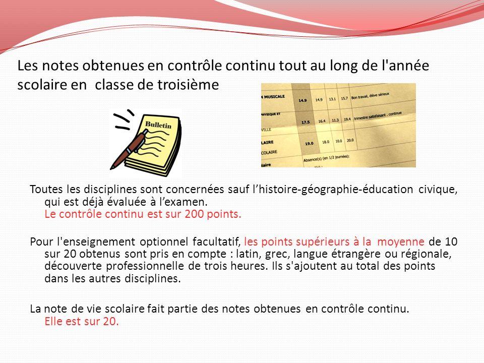 Les notes obtenues en contrôle continu tout au long de l'année scolaire en classe de troisième Toutes les disciplines sont concernées sauf lhistoire-g