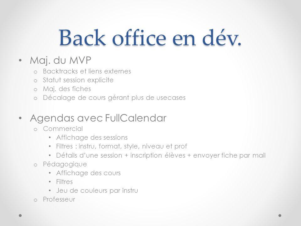 Back office en dév. Maj. du MVP o Backtracks et liens externes o Statut session explicite o Maj. des fiches o Décalage de cours gérant plus de usecase