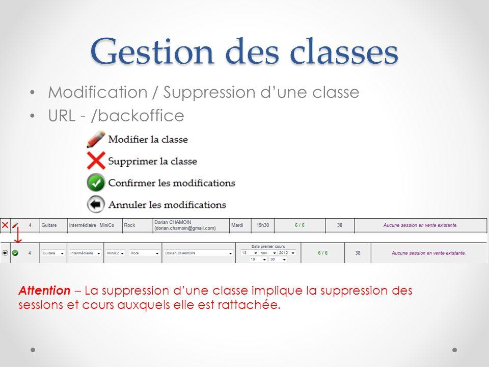 Gestion des classes Modification / Suppression dune classe URL - /backoffice Attention – La suppression dune classe implique la suppression des sessio