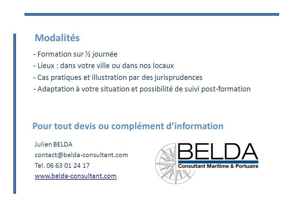 Pour tout devis ou complément dinformation Julien BELDA contact@belda-consultant.com Tel. 06 63 01 24 17 www.belda-consultant.com Modalités - Formatio