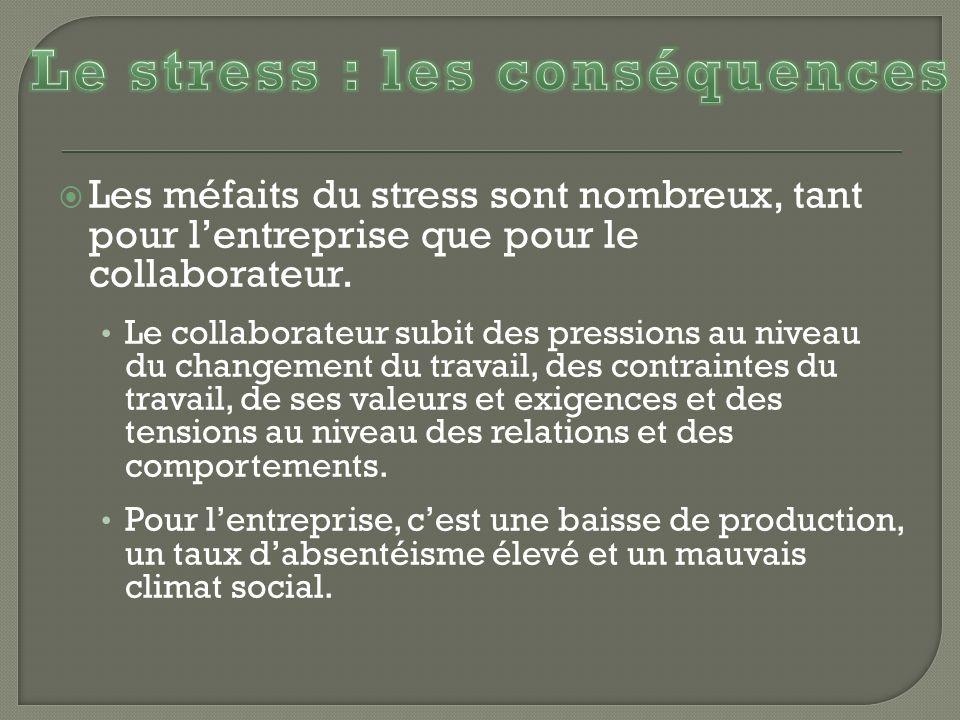 Les méfaits du stress sont nombreux, tant pour lentreprise que pour le collaborateur. Le collaborateur subit des pressions au niveau du changement du