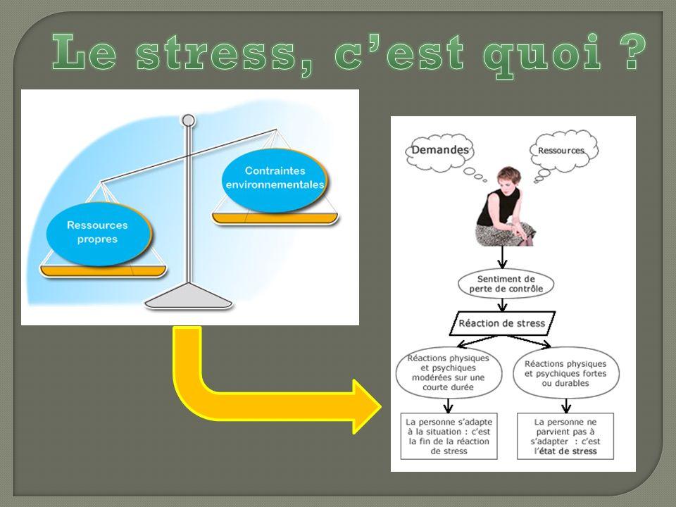 Selon lagence Européenne pour la Sécurité et la Santé au travail, un état de stress « survient lorsquil y a déséquilibre entre la perception quune personne a des contraintes que lui impose son environnement et la perception quelle a de ses propres ressources pour y faire face »