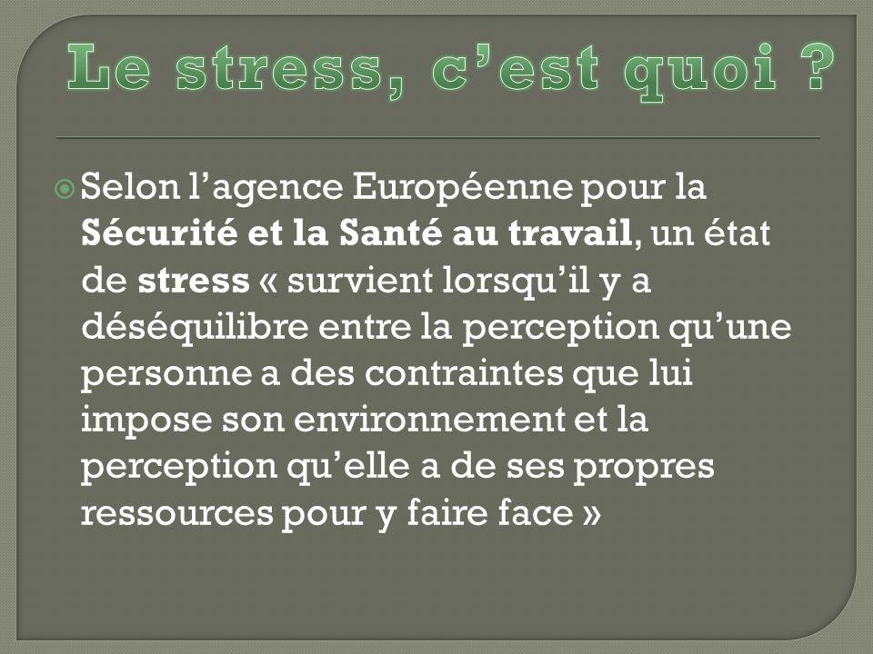 Selon lagence Européenne pour la Sécurité et la Santé au travail, un état de stress « survient lorsquil y a déséquilibre entre la perception quune per