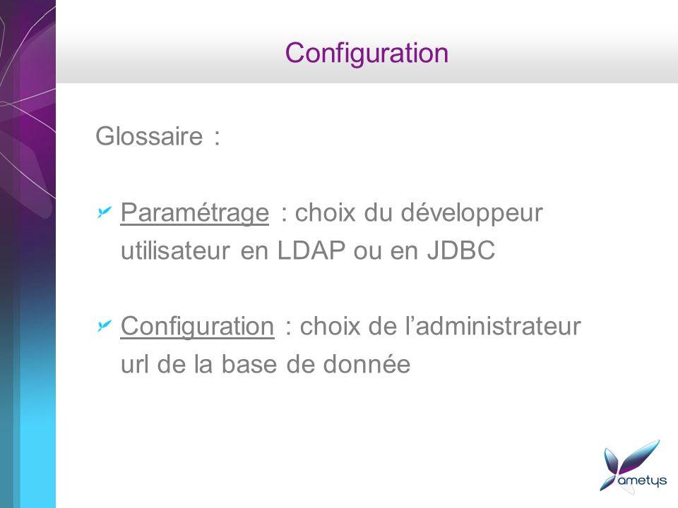 Configuration Glossaire : Paramétrage : choix du développeur utilisateur en LDAP ou en JDBC Configuration : choix de ladministrateur url de la base de donnée