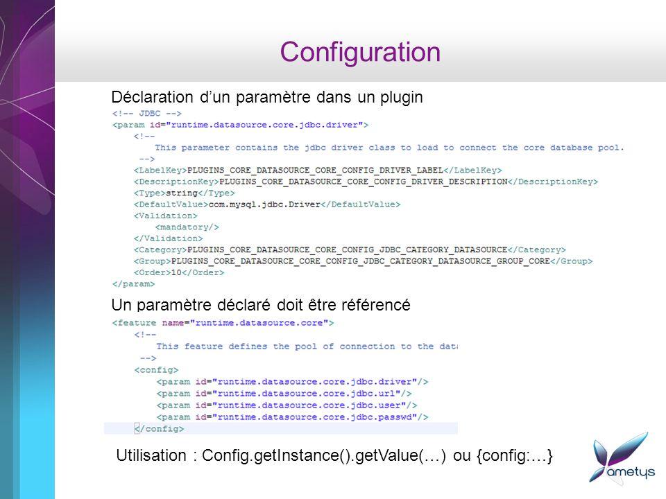 Configuration Déclaration dun paramètre dans un plugin Un paramètre déclaré doit être référencé Utilisation : Config.getInstance().getValue(…) ou {con