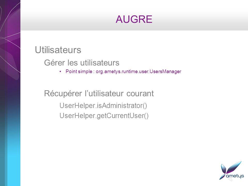 AUGRE Utilisateurs Gérer les utilisateurs Point simple : org.ametys.runtime.user.UsersManager Récupérer lutilisateur courant UserHelper.isAdministrator() UserHelper.getCurrentUser()
